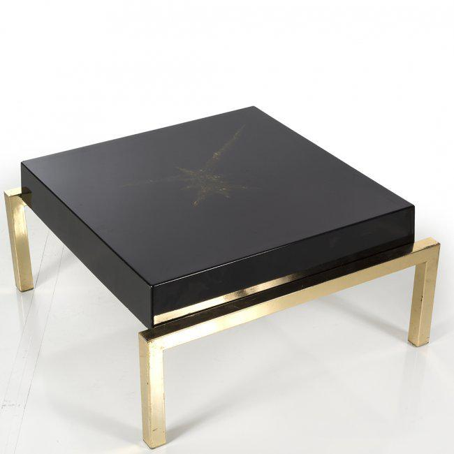 Brass U0026 Black Resin Side Tables U0026 Coffee Table With Gold Veining, Set Of 3