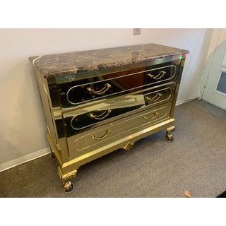 1970s Vintage Hollywood Regency Brass Chest Of Drawers Preview