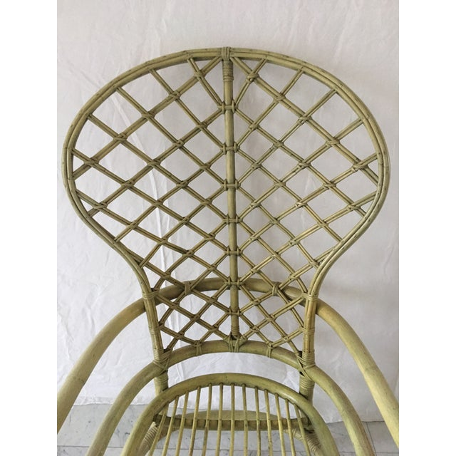 Vintage Green Rattan Fan Back Chair - Image 5 of 11