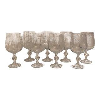 Fostoria Crystal Etched Glasses - Set of 8