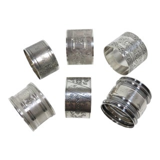 Antique American Sterling Silver Napkin Rings - Set of 6 For Sale
