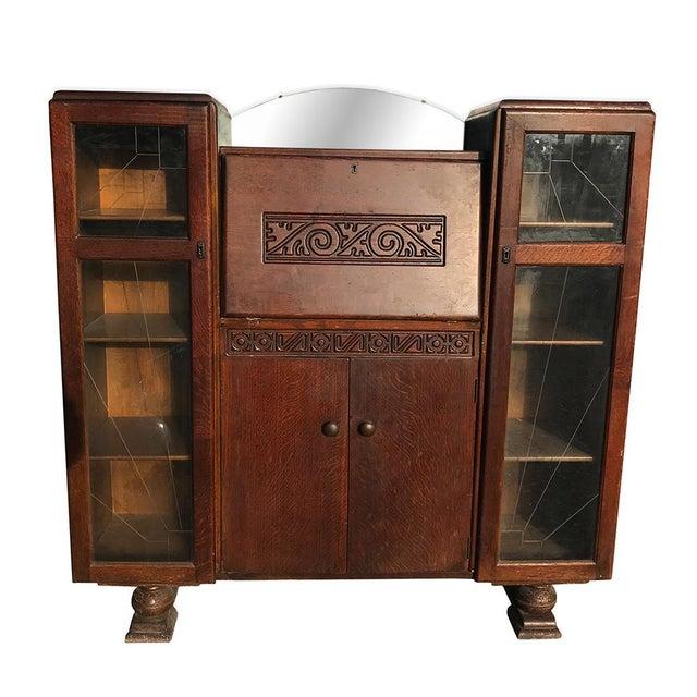 Brass Antique English Art Deco Tiger Oak Side By Bookcase Drop Front Secretary Desk For
