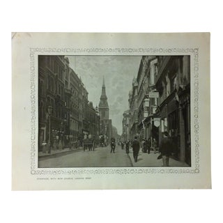 """1906 """"Cheapside - With Bow Church - Looking West"""" Famous View of London Print For Sale"""