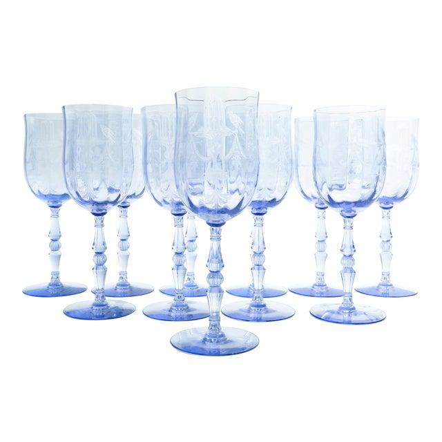 Vintage Etched Crystal Wine / Water Glassware Set For Sale