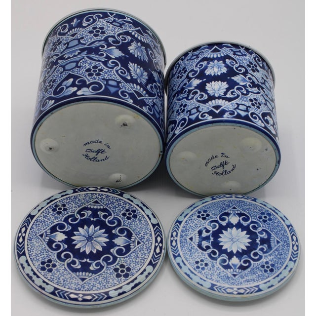 Floral Blue and White Delft Tole Lidded Nesting Canisters - a Pair For Sale - Image 10 of 12