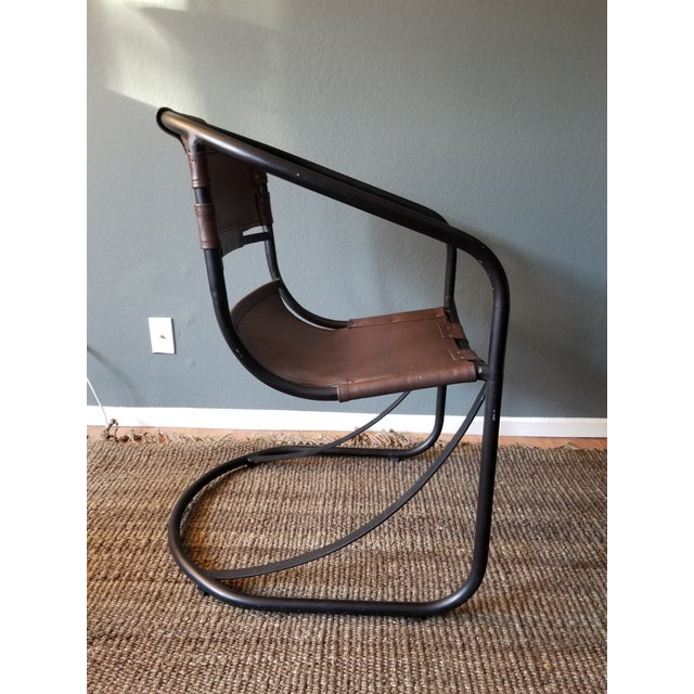 Tobacco Leather Round Lounger Chair - Image 5 of 9