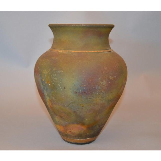 Signed Mid-Century Modern Brown, Blue & Gold American Raku Vase, Vessel, Urn For Sale - Image 12 of 13