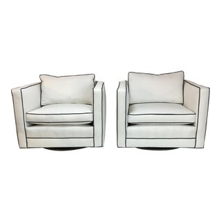 Mid-Century Modern Linen Swivel Club Chairs - a Pair For Sale