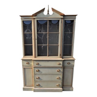 Antique Crown Glass Door Mahogany China Cabinet by Saginaw Furniture Shop, Michigan For Sale