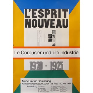 1987 Original Swiss Architecture Poster - l'Esprit Nouveau, Le Corbusier and the Industry For Sale