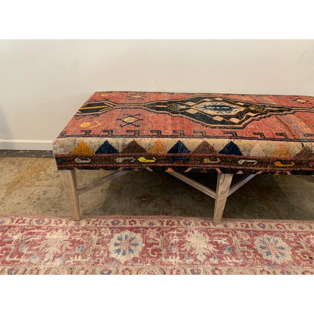 Wood Vintage Persian Rug Ottoman Table For Sale - Image 7 of 11