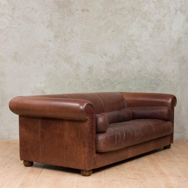 1970s Mid-Century Baxter Buffalo Leather Italian Sofa For Sale - Image 5 of 12