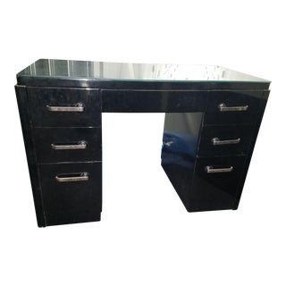 Mid-Century Modern Wooden Desk With Glass Top For Sale
