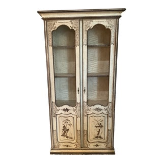1930's Chinoiserie Display Cabinet With Wire Doors For Sale