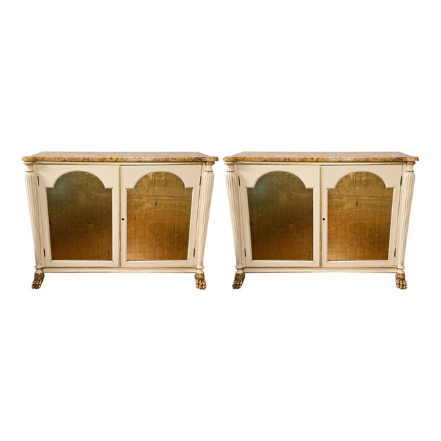 Regency Style Marble Top Cabinets - A Pair For Sale