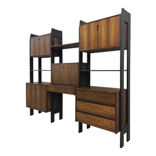 Danish Modern Rosewood Wall Unit For Sale
