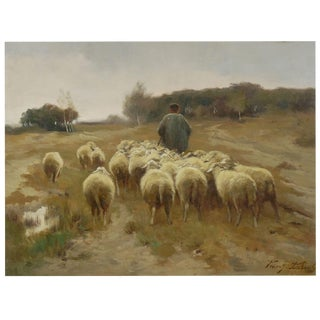 """Heading to Pasture"" Antique Barbizon Landscape Painting Signed Franz De Beul For Sale"