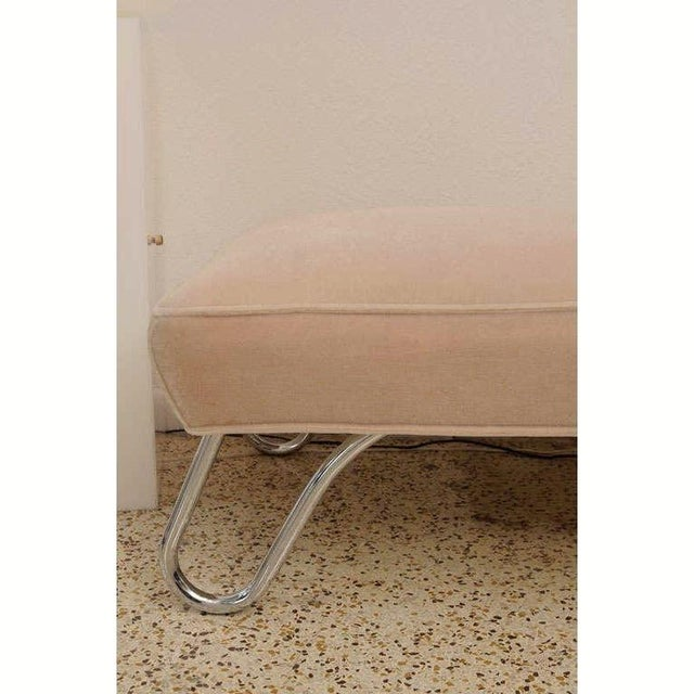 Vintage 1920s Kem Weber Chaise Streamline Moderne Style in Polished Chrome and Camel/Tan Mohair For Sale In West Palm - Image 6 of 12