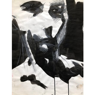 """Contemporary Portrait Drawing in Charcoal, Ink, and Pastel, """"Fractured Self-Portrait"""", by Artist David O. Smith For Sale"""