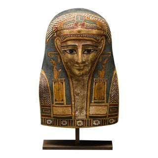 Egyptian Cartonnage Mask of a Man Wearing an Elaborate Painted Headdress For Sale