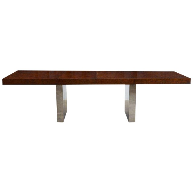 Milo Baughman Burl Wood Chrome Extension Dining Table For Sale