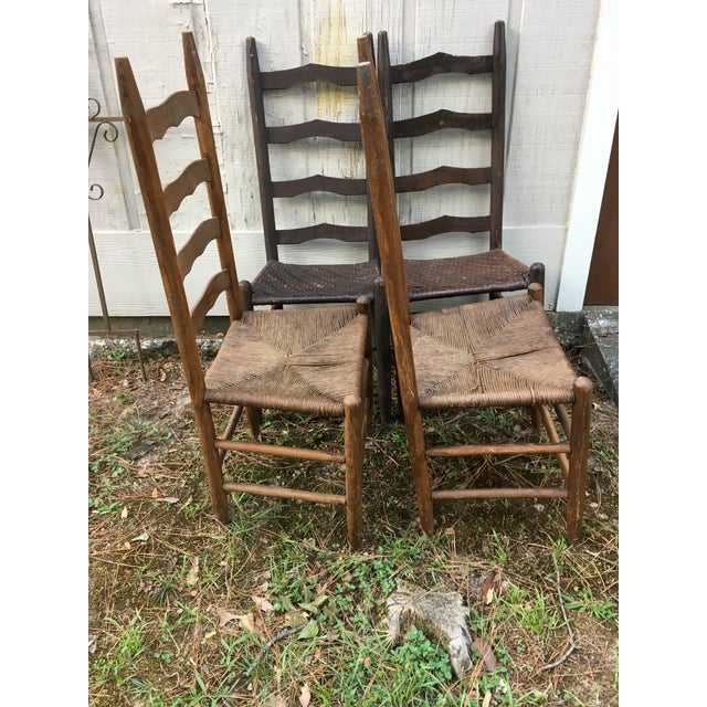 Maple Mismatched Ladder Back Country Chairs - Set of 4 For Sale - Image 7 of 12
