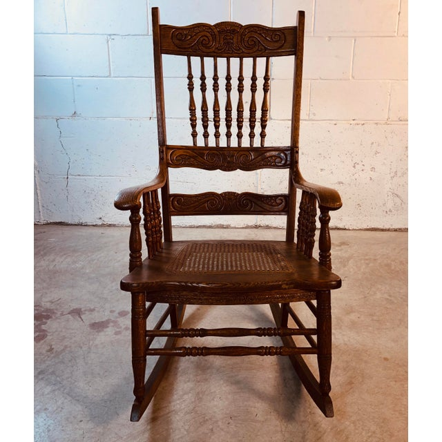 1920s Quarter-Sawn Oak Hand Carved Rocking Chair For Sale - Image 5 of 13
