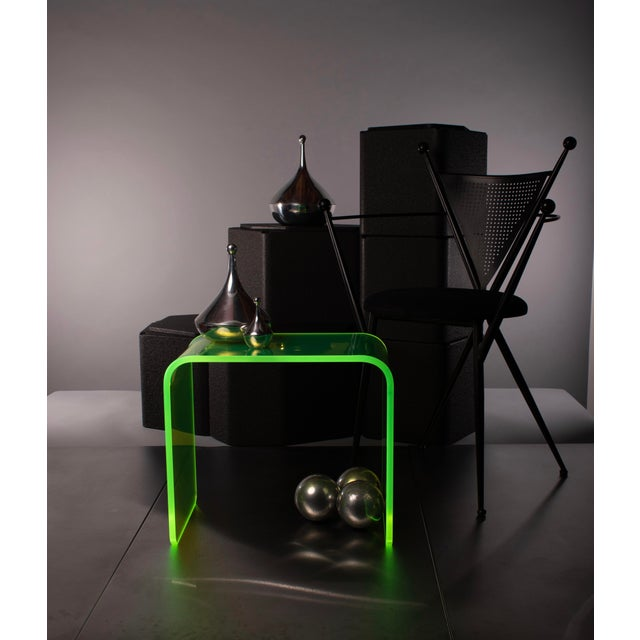 """Acrylic """"The Side Piece"""" Side Table in Neon Green For Sale - Image 7 of 7"""