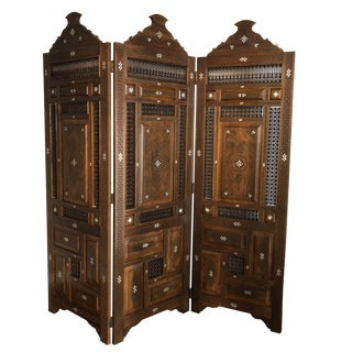 Hand Carved Moroccan Style Room Divider For Sale