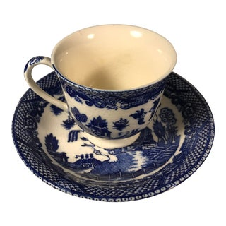 Antique Miniature Blue Willow Pattern Tea Cup and Saucer, Japan For Sale