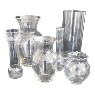 Clear Glass Vases - Set of 6