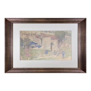 "Frank Lloyd Wright Lithograph ""Kindergarten for Aline Barnsdall, La.."" 1923 For Sale"