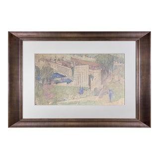 "Frank Lloyd Wright Lithograph ""Kindergarten for Aline Barnsdall, La.."" 1923 For Sale"