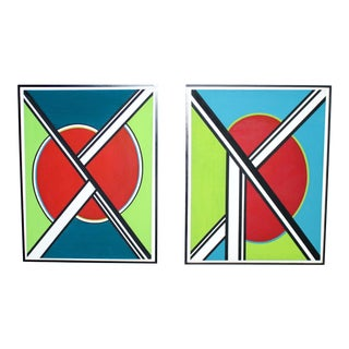 Pair of Massive Mid-Century Modern Abstract Original Acrylic Paintings For Sale