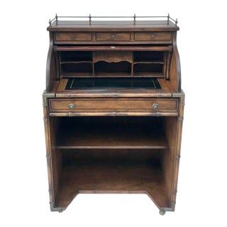 Vintage Faux Bamboo Petite Roll Top Secretary Desk For Sale