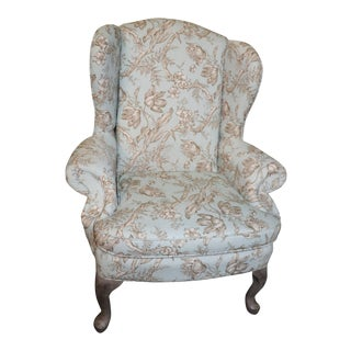 1970s Toile Wing Chair For Sale