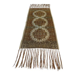 Early 1900s Embroidered Fringed Table Runner Made in Italy For Sale