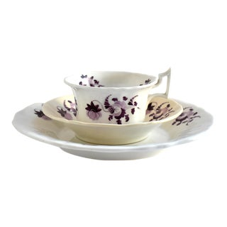 Antique Georgian Trio of Teacup, Saucer, and Plate With Purple Flowers For Sale