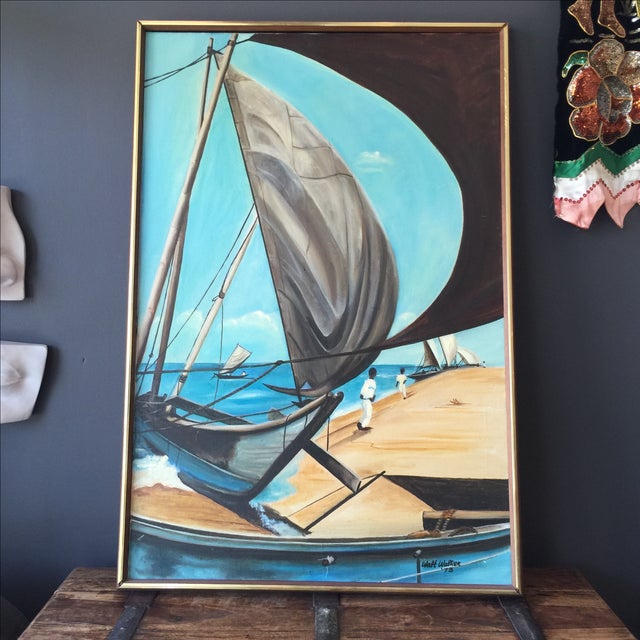 1973 Nautical Oil Painting by Walt Walker For Sale In Los Angeles - Image 6 of 9