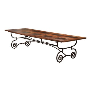 Large French Chestnut and Slate Dining Room Table on Forged Wrought Iron Base For Sale