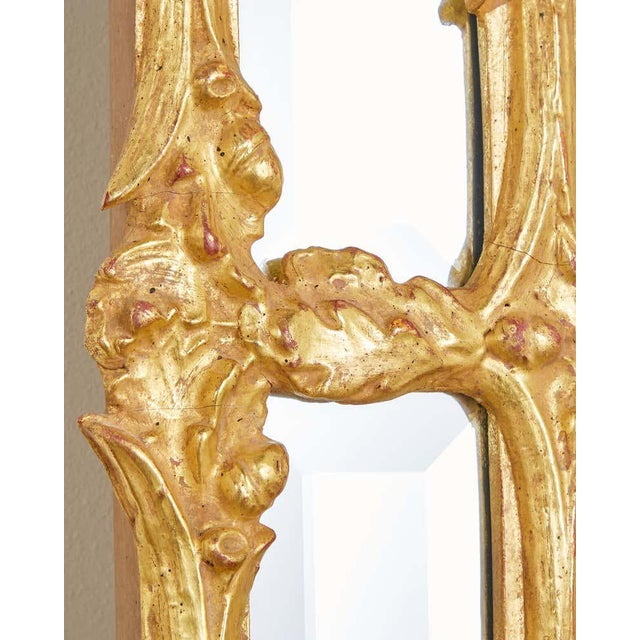 Italian Carved Gilt Wood Faux Bois Cushion Mirror For Sale - Image 11 of 13