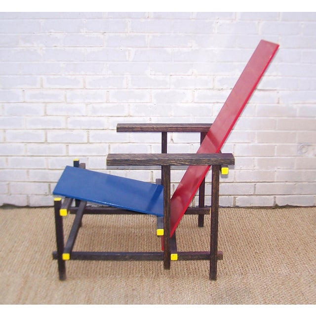 Gerrit Rietveld Style Red & Blue Chair - Image 6 of 11