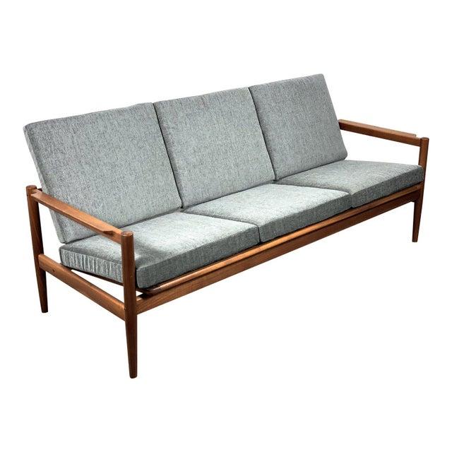 1950s Vintage Borge Jensen Teak Frame Gray Three Seat Sofa For Sale - Image 11 of 11