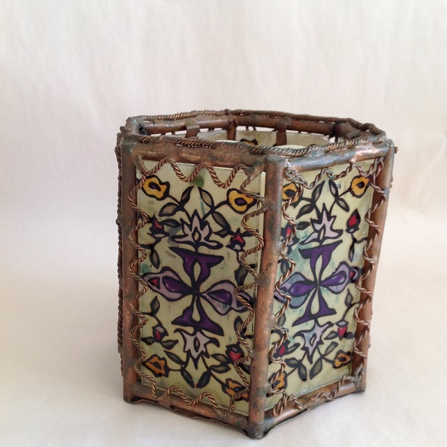 Bohemian Moroccan Brass & Glass Candle Lantern - Image 10 of 10