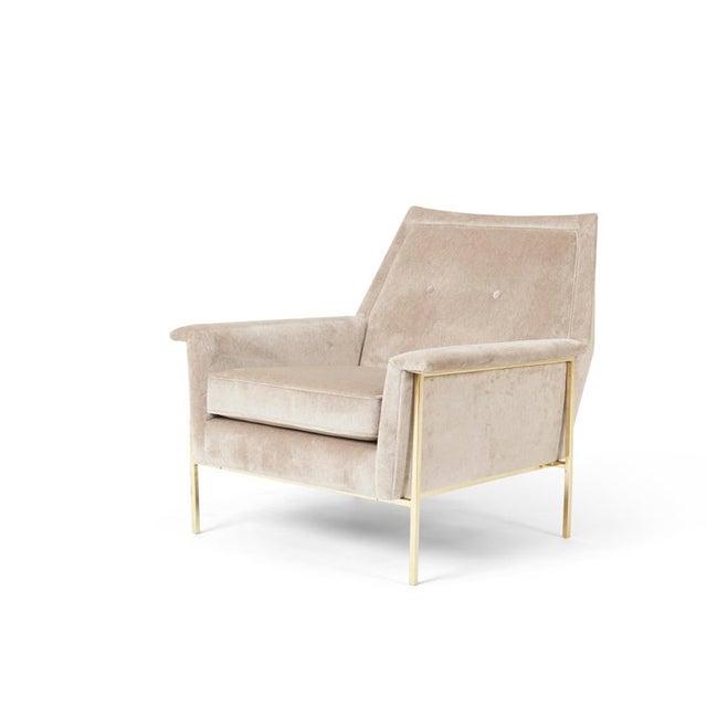 Brass frame lounge chair attributed to Harvey Probber. Fully restored. Polished brass frame. New velvet upholstery.