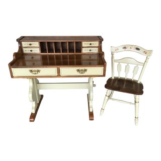Temple Stuart Hitchcock Style Writing Desk and Chair - 2 Pieces For Sale