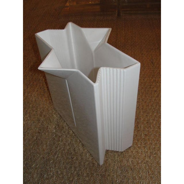 Very architectural design, signed Asti vase in white ceramic is simply great.