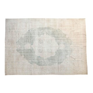 "Vintage Distressed Oushak Carpet - 9'7"" X 13'8"""