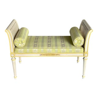 Vintage French Provincial Upholstered Bench For Sale