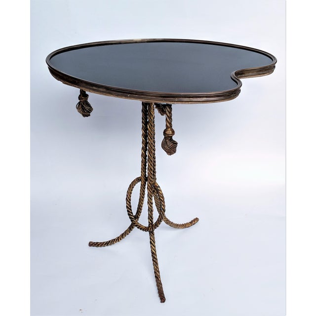 Hollywood Regency Gilded Rope & Black Glass Side Table For Sale - Image 3 of 12